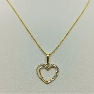 Jewelry - 14k Yellow Gold 16inch Heart CZ Necklace Pendant